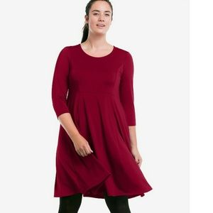 Ellos Burgendy Fit-and-Flare Knit Dress Size 28